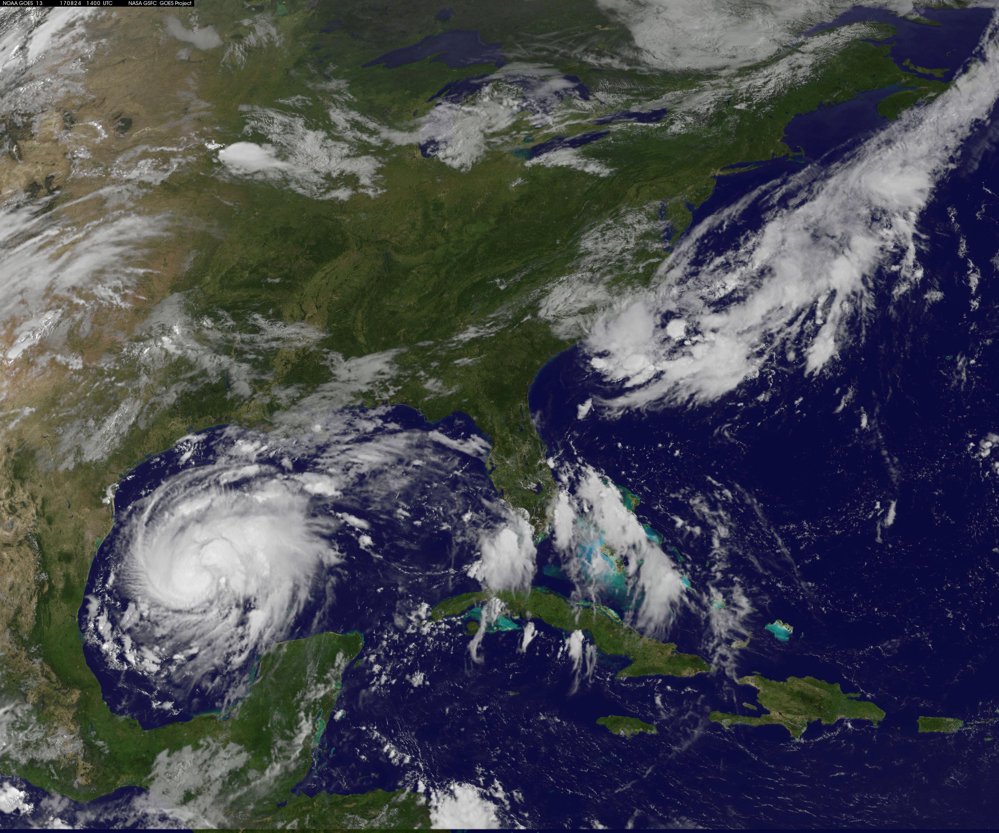 Tropical Storm Harvey is seen approaching the Texas Gulf Coast,. NOAA/via Reuters