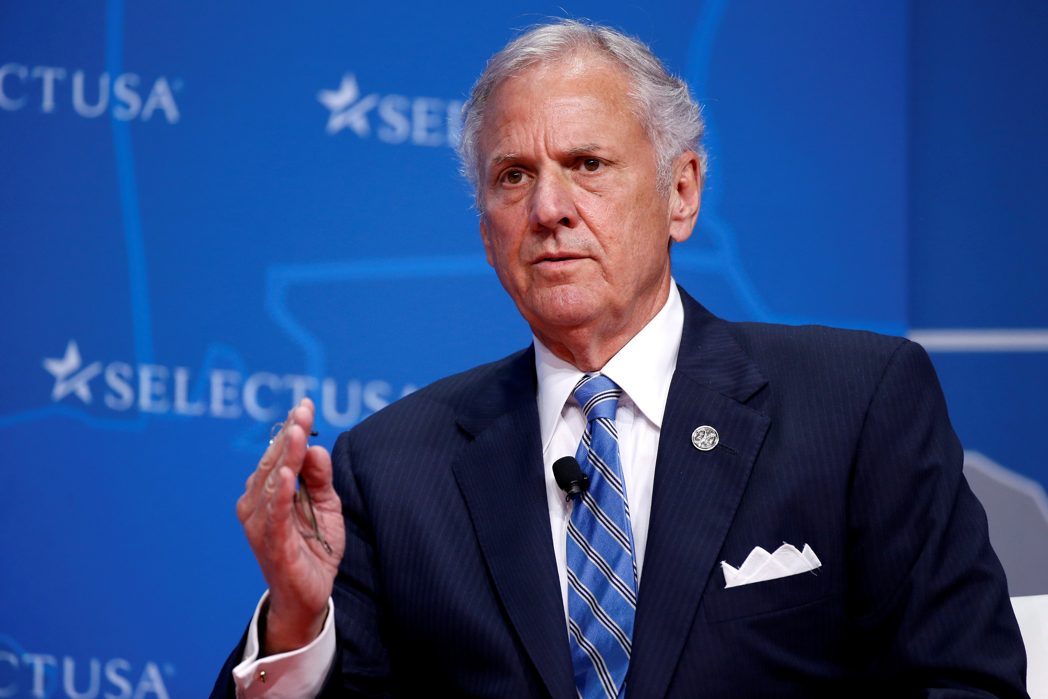 FILE PHOTO: Governor of South Carolina Henry McMaster speaks at 2017 SelectUSA Investment Summit in Oxon Hill, Maryland, U.S., June 19, 2017. REUTERS/Joshua Roberts/File Photo