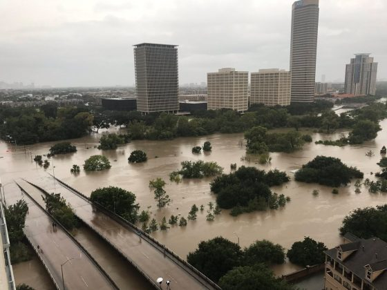 Flooded downtown is seen from a high rise along Buffalo Bayou after Hurricane Harvey inundated the Texas Gulf coast with rain causing widespread flooding, in Houston, Texas, U.S. August 27, 2017 in this picture obtained from social media.