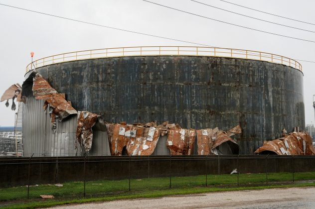 An oil tank damaged by Hurricane Harvey is seen near Seadrift, Texas, August 26, 2017