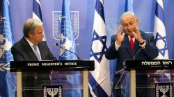 Israeli Prime Minister Benjamin Netanyahu (R) gestures as he delivers a joint statement with U.N. Secretary General Antonio Guterres in Jerusalem August 28,