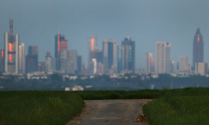 FILE PHOTO: The skyline of Frankfurt, Germany, May 11, 2017. REUTERS/Kai Pfaffenbach/File Photo