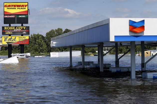 A gas station submerged under flood waters from Tropical Storm Harvey is seen in Rose City, Texas, U.S., on August 31, 2017.