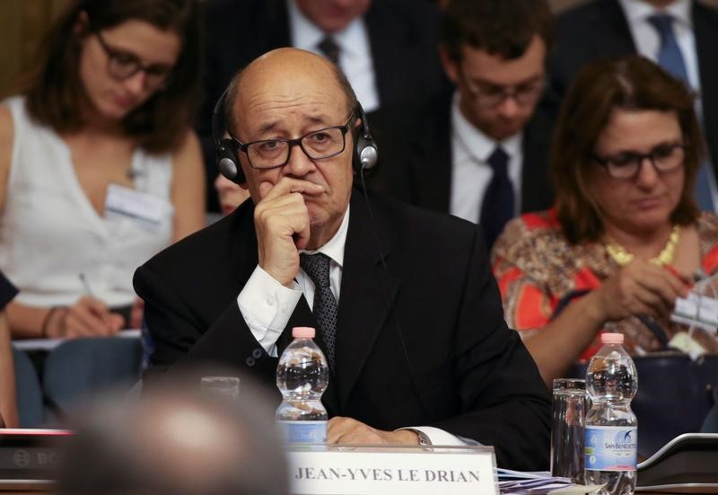 French Foreign Minister Jean-Yves Le Drian attends a conference of Italian ambassadors in Rome, Italy July 24, 2017.