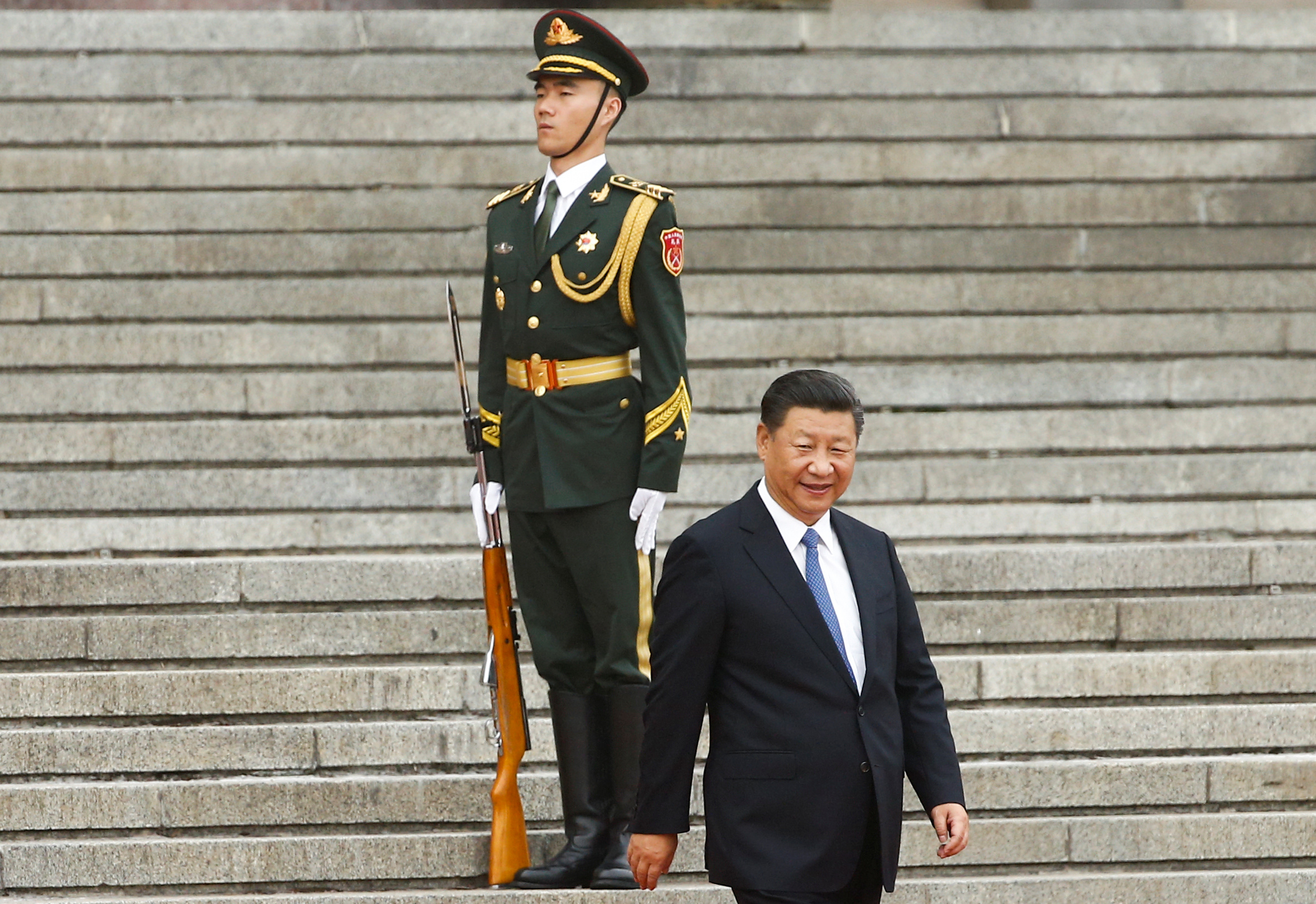 China's President Xi Jinping arrives at a welcoming ceremony for Brazil's President Michel Temer (not pictured) at the Great Hall of the People in Beijing, China September 1, 2017.