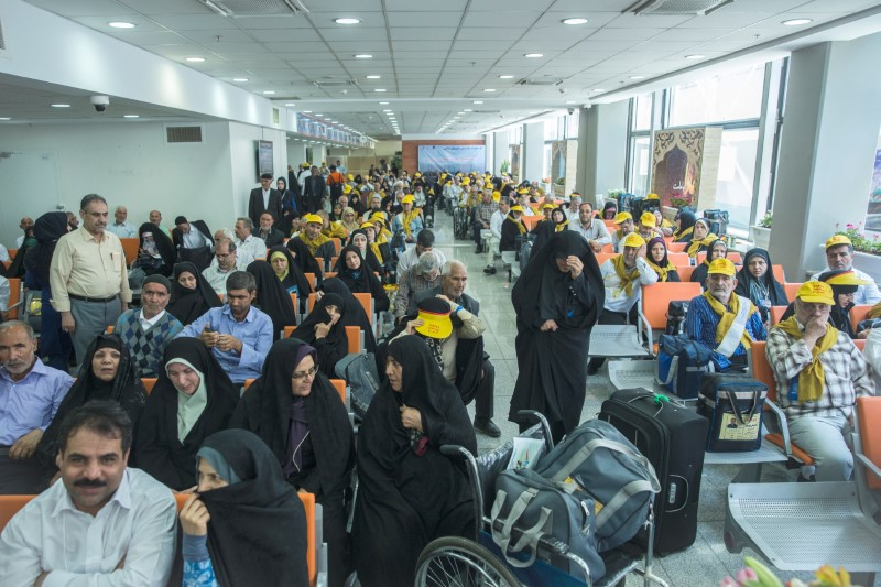 Iranian pilgrims wait at the Imam Khomeini airport in Tehran as they depart for the annual haj pilgrimage to the holy city of Mecca, in Tehran, Iran, July 31, 2017.