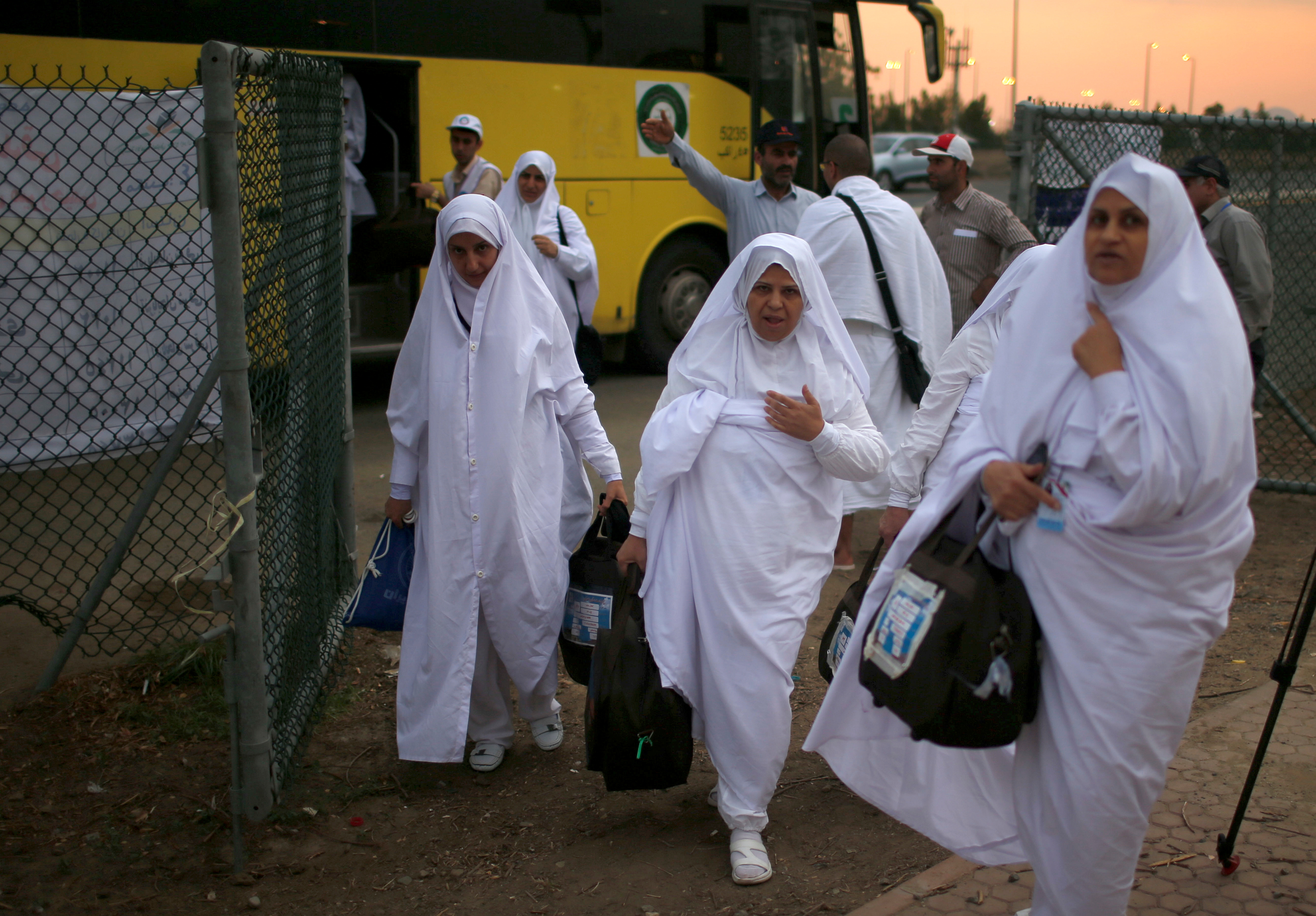 Iranian pilgrims arrive for the annual haj pilgrimage, in Arafat outside the holy city of Mecca, Saudi Arabia August 30, 2017. Picture taken August 30, 2017.