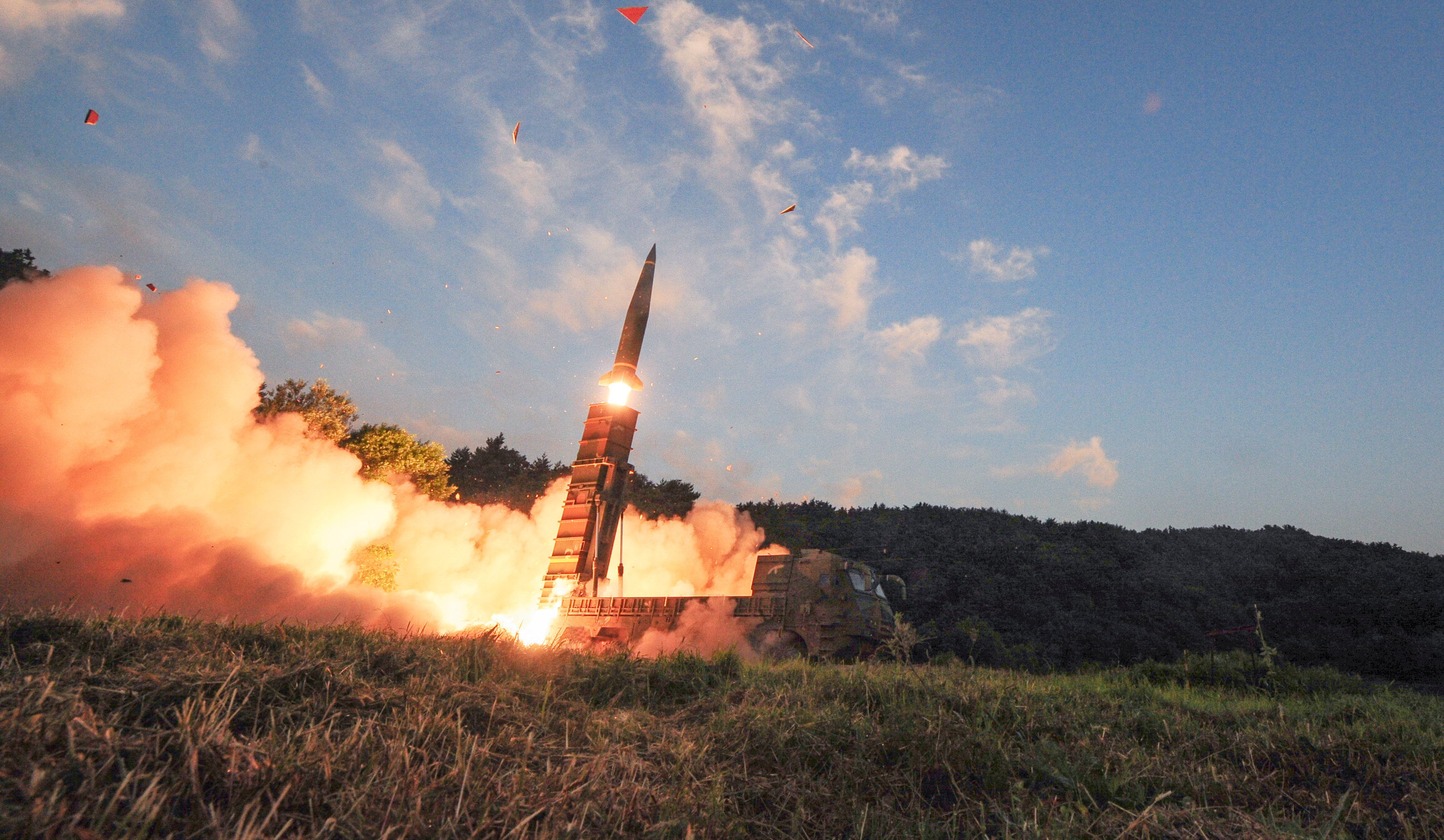 South Korean troops fire Hyunmoo Missile into the waters of the East Sea at a military exercise in South Korea September 4, 2017.