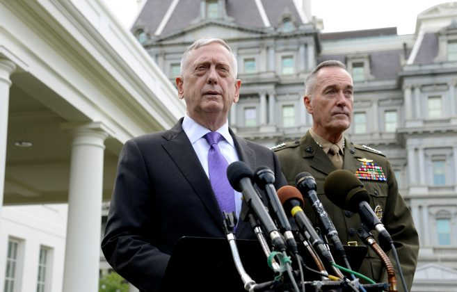 Secretary of Defense James Mattis (L) makes a statement outside the West Wing of the White House in response to North Korea's latest nuclear testing, as Chairman of the Joint Chiefs of Staff Gen. Joseph Dunford listens, in Washington, U.S., September 3, 2017