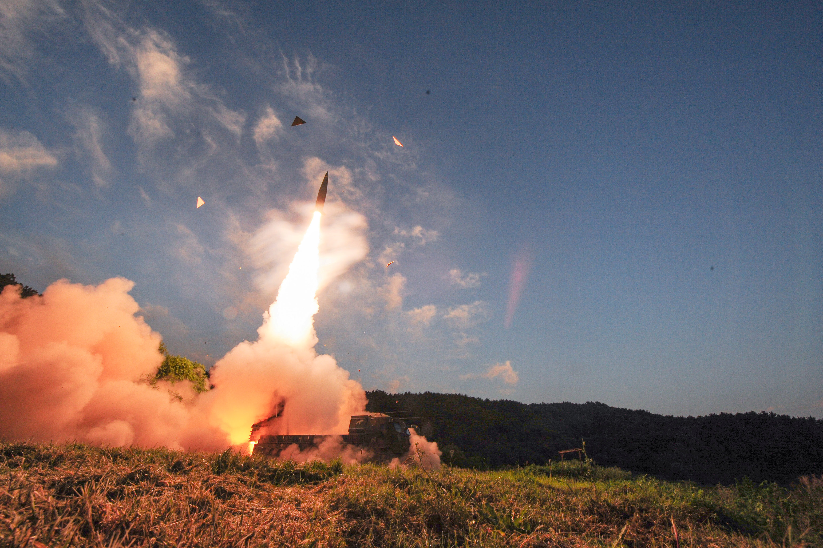 South Korean troops fire Hyunmoo Missile into the waters of the East Sea at a military exercise in South Korea September 4, 2017. Defense Ministry/Yonhap/via REUTERS ATTENTION EDITORS - THIS IMAGE HAS BEEN SUPPLIED BY A THIRD PARTY. SOUTH KOREA OUT. NO RESALES. NO ARCHIVE.