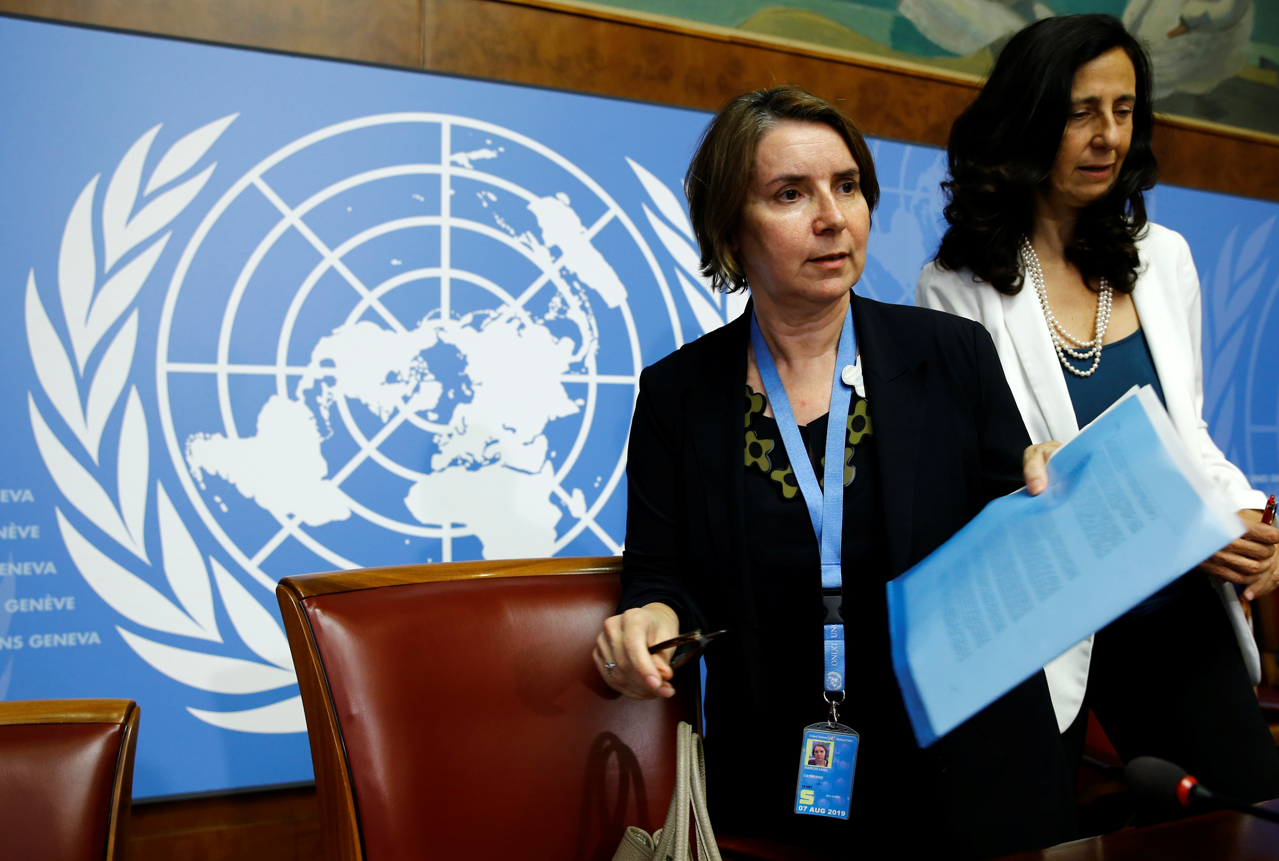 Catherine Marchi-Uhel of France, newly-appointed head of the International, Impartial and Independent Mechanism (IIIM) attends a news conference on Syria crimes at the United Nations in Geneva, Switzerland September 5, 2017. REUTERS/Denis Balibouse