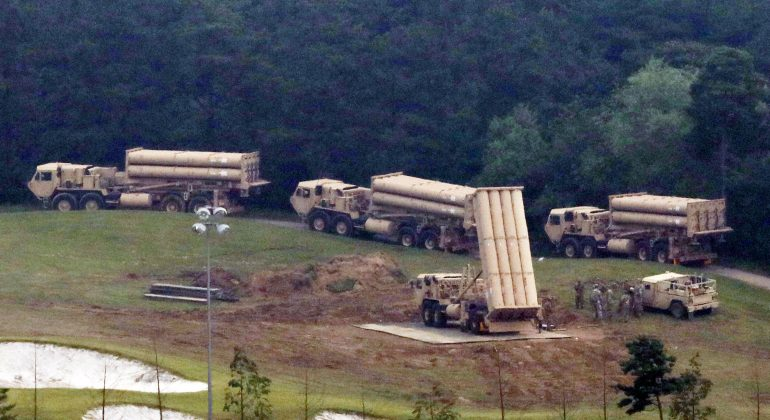 Terminal High Altitude Area Defense (THAAD) interceptors are seen as they arrive at Seongju, South Korea, September 7, 2017. Lee Jong-hyeon/News1 via REUTERS
