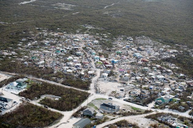 An aireal view shows damage after hurricane Irma passed over Providenciales on the Turks and Caicos Islands, September 11, 2017. Picture taken September 11, 2017. Cpl Darren Legg RLC/Ministry of Defence handout via REUTERS