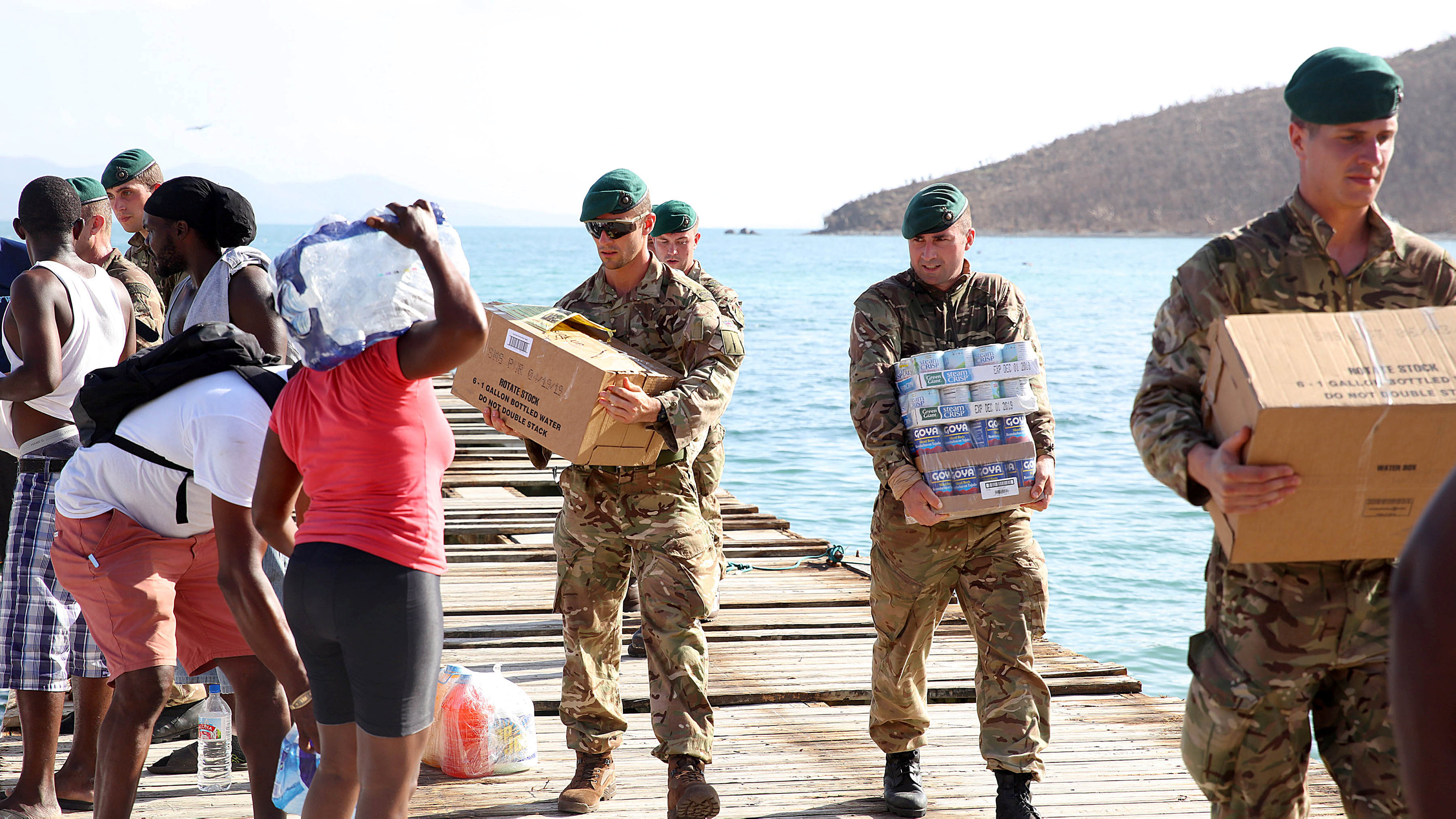British Army Commandos take part in recovery efforts after hurricane Irma passed Tortola, in the British Virgin Islands, September 11, 2017. Picture taken September 11, 2017. Captain George Eatwell RM/Ministry of Defence handout via REUTERS