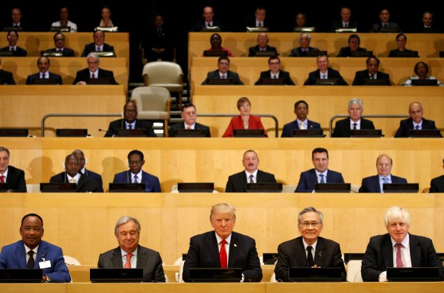 U.S. President Donald Trump participates in a session on reforming the United Nations at UN Headquarters in New York, U.S., September 18, 2017. REUTERS/Kevin