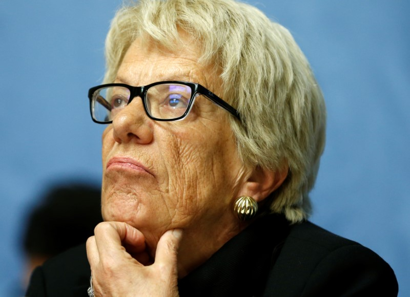 Carla del Ponte, member of the Independent Commission of Inquiry on the Syrian Arab Republic attends a news conference into events in Aleppo at the United Nations in Geneva, Switzerland, March 1, 2017.