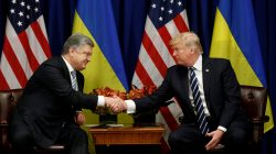 U.S. President Donald Trump meets with Ukraine President Petro Poroshenko during the U.N. General Assembly in New York, U.S., September 21, 2017. REUTERS/Kevin Lamarque
