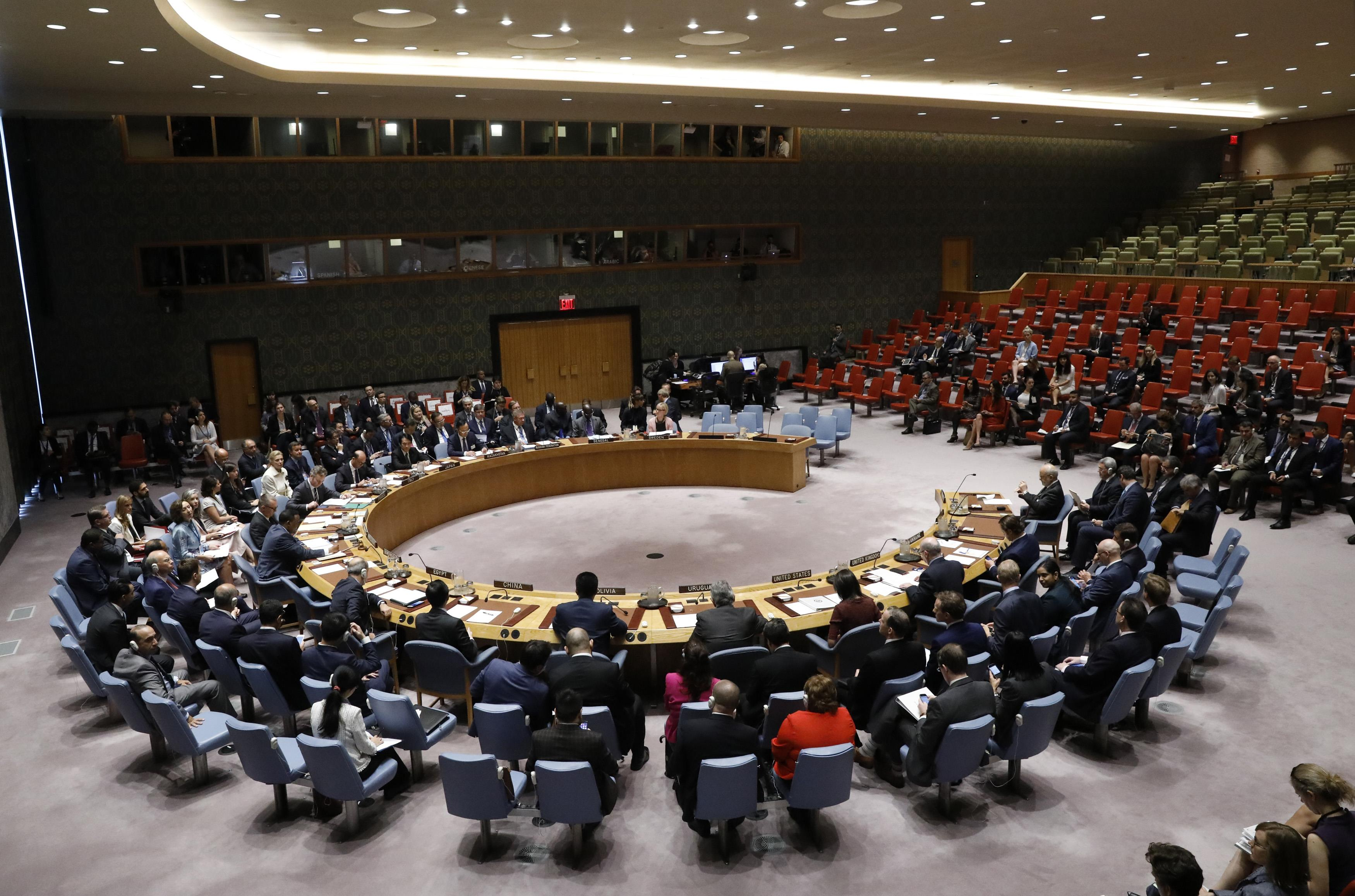 The United Nations Security Council meets to discuss adopting a resolution to help preserve evidence of Islamic State crimes in Iraq, during the 72nd United Nations General Assembly at U.N. Headquarters in New York, U.S., September 21, 2017.
