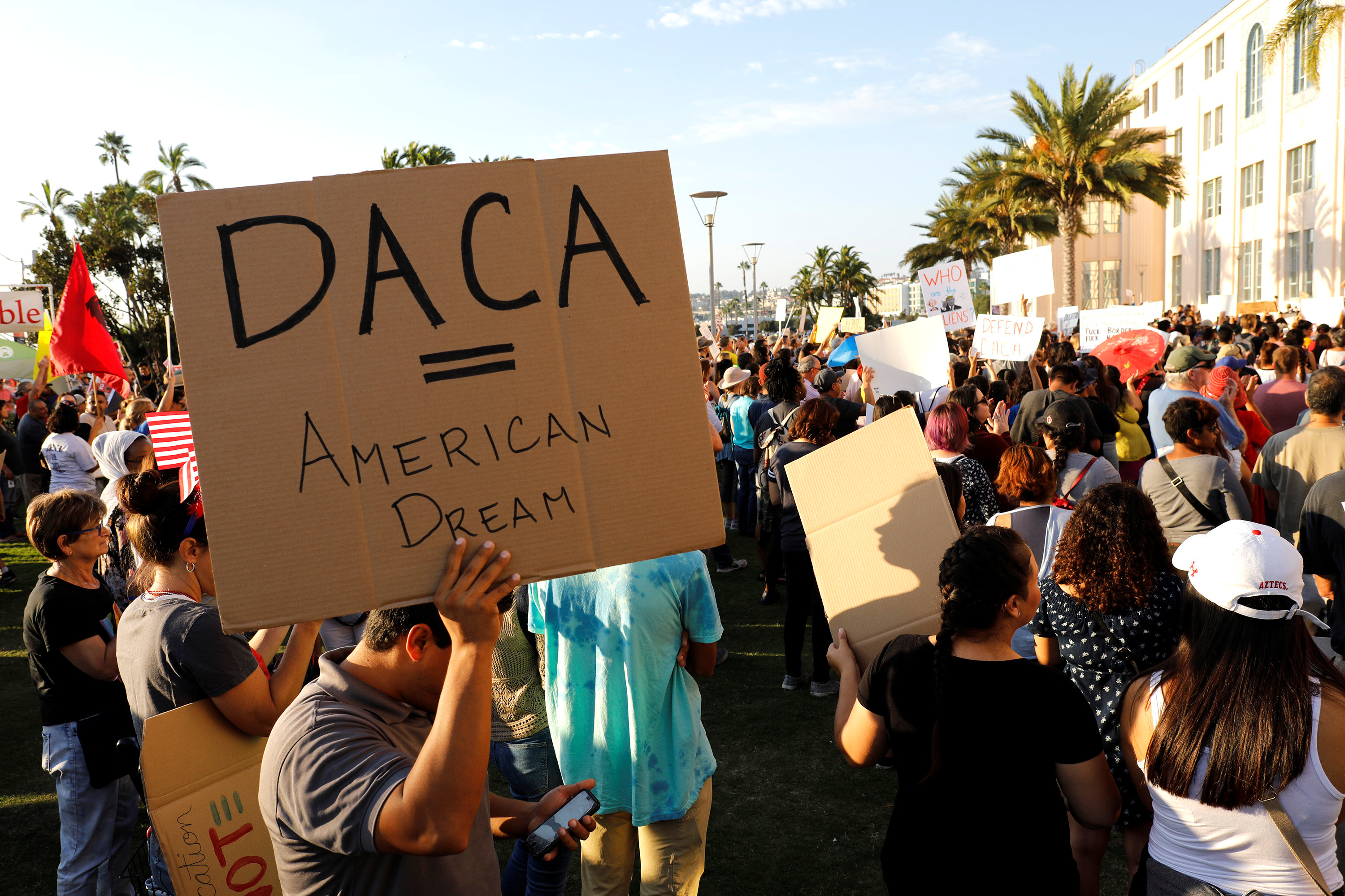 FILE PHOTO: Alliance San Diego and other Pro-DACA supporters hold a protest rally, following U.S. President Donald Trump's DACA announcement, in front of San Diego County Administration Center in San Diego, California, U.S., September 5, 2017. REUTERS/John Gastaldo
