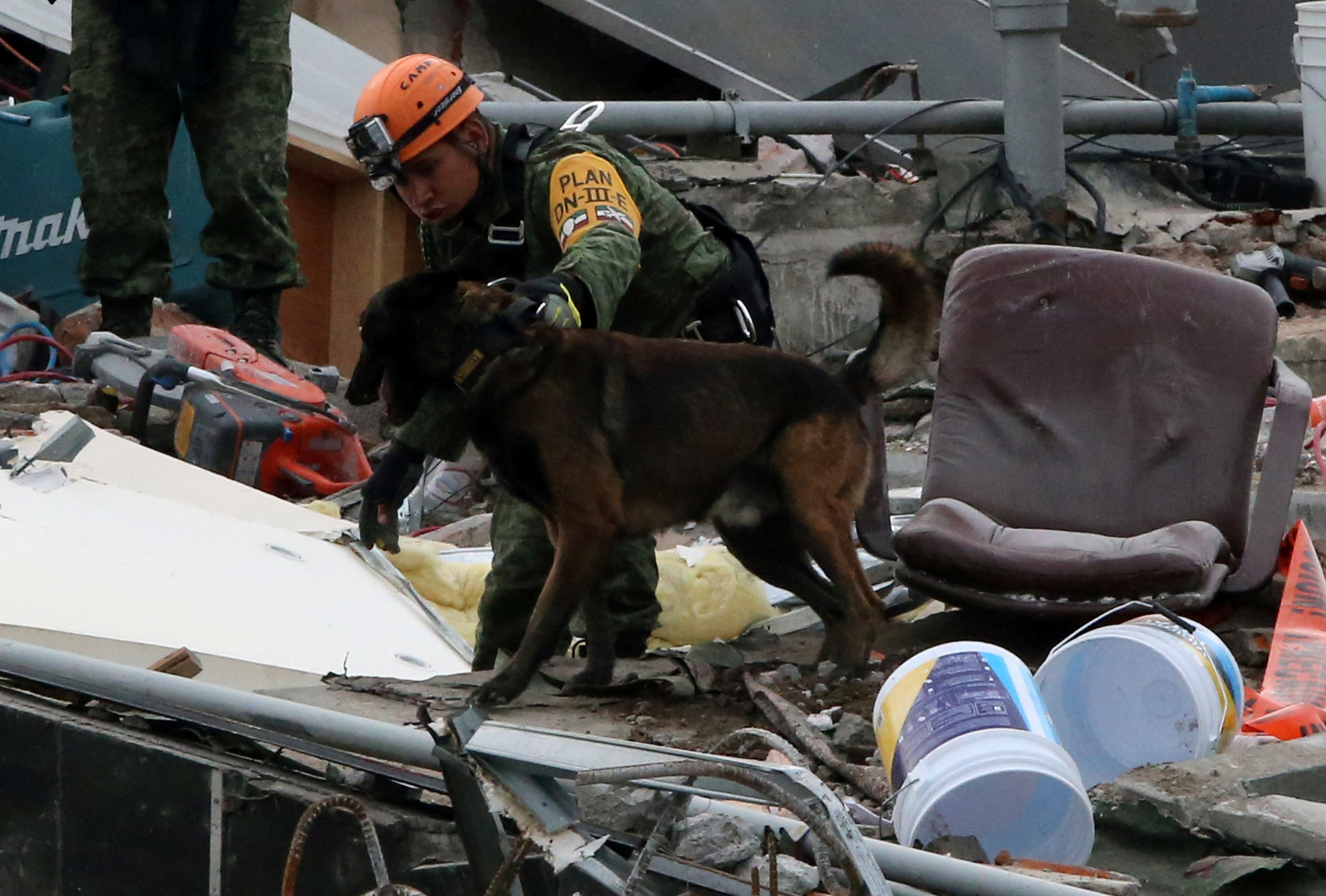 A Mexican soldier and his dog search for survivors in the rubble of a collapsed building after an earthquake in Mexico City, Mexico September 23, 2017. REUTERS/Henry Romero
