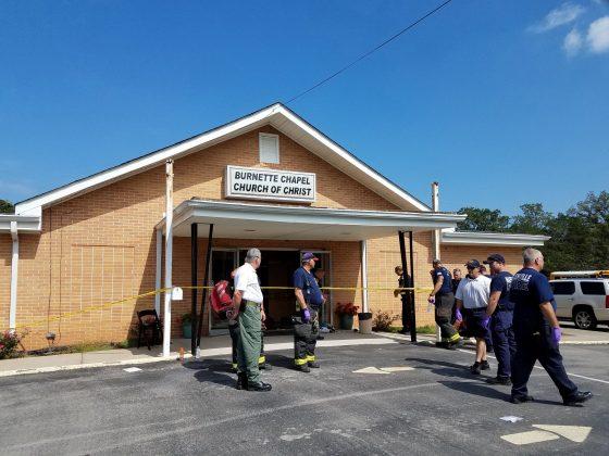 The scene where people were injured when gunfire erupted at the Burnette Chapel Church of Christ, in Nashville, Tennessee, U.S., September 24, 2017. Metro Nashville Police Departmen