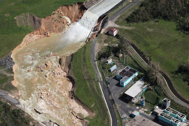An aerial view shows the damage to the Guajataca dam.