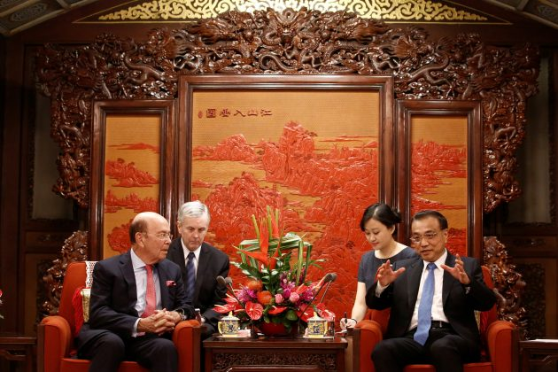 U.S. Secretary of Commerce Wilbur Ross meets Chinese Premier Li Keqiang at the Zhongnanhai state guesthouse in Beijing, China, September 25, 2017.