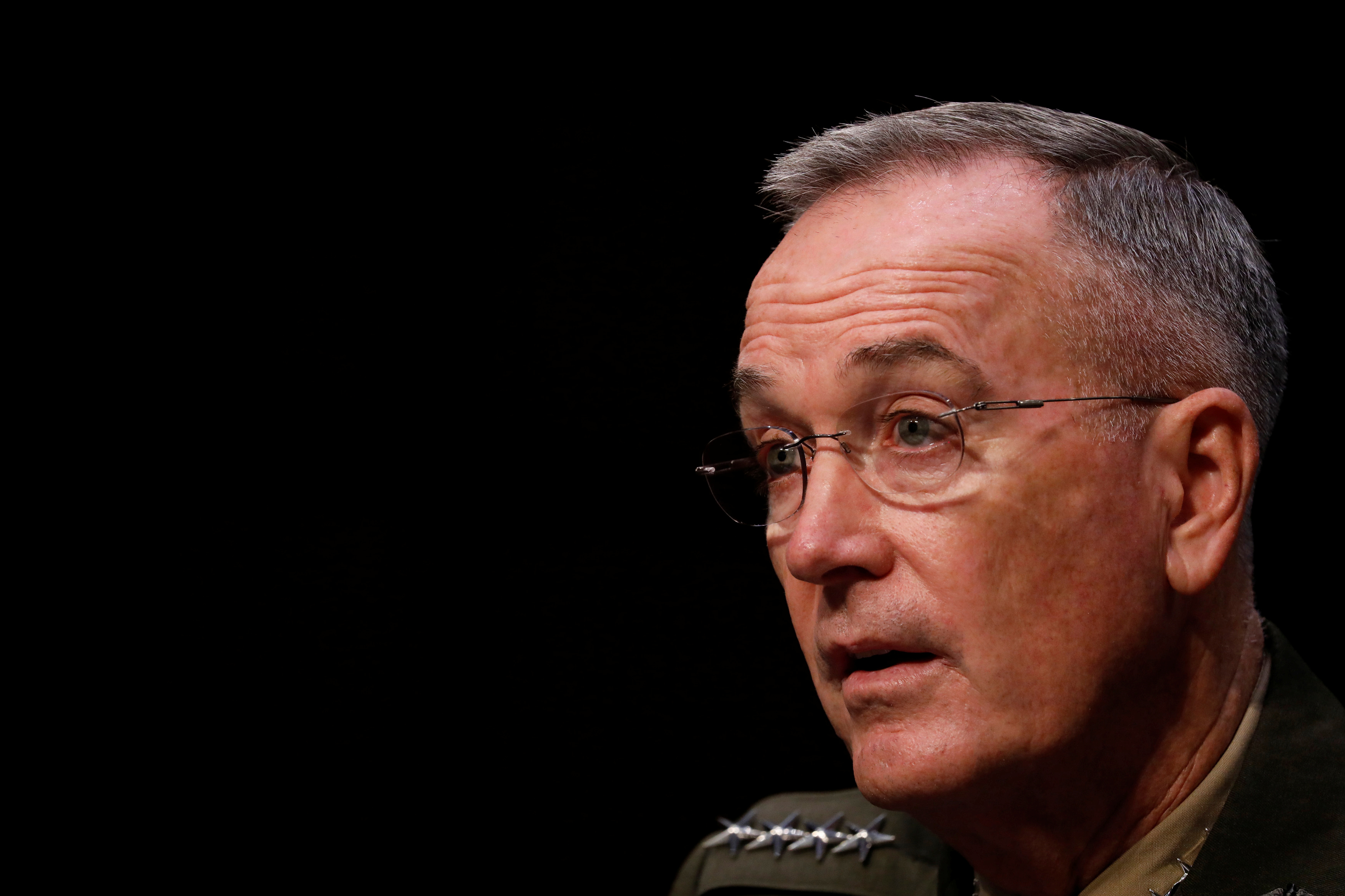 General Joseph Dunford, Chairman of the Joint Chiefs of Staff, testifies before the Senate Armed Services Committee on Capitol Hill in Washington, U.S. September 26, 2017. REUTERS/Aaron P. Bernstein
