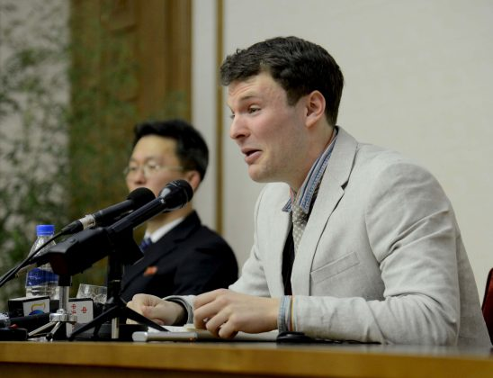 FILE PHOTO: U.S. student Otto Warmbier speaks at a news conference in this undated photo released by North Korea's Korean Central News Agency (KCNA) in Pyongyang February 29, 2016. REUTERS/KCNA/File Photo