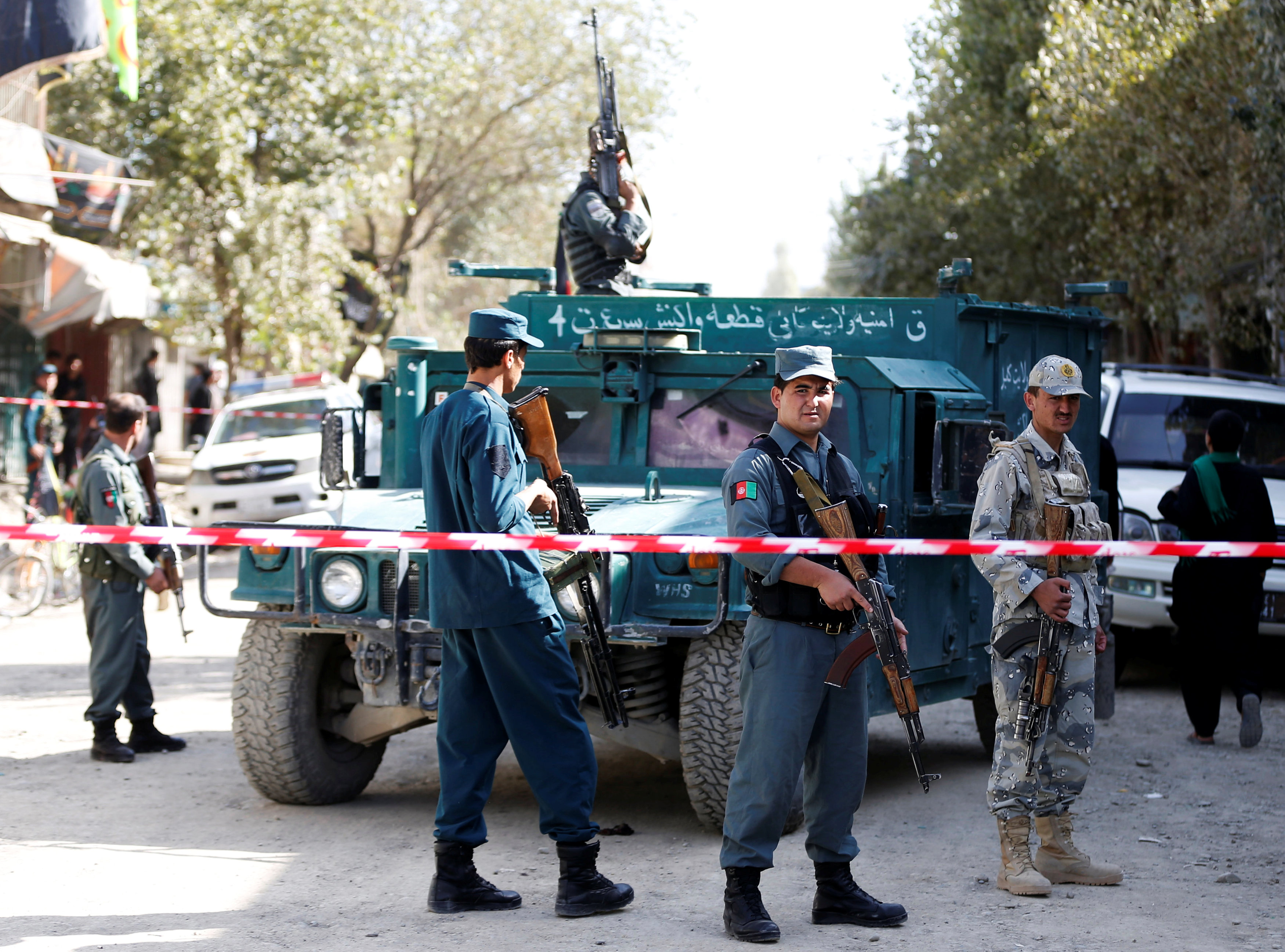 File Photo - Afghan security forces inspect at the site of a suicide attack near a large Shi'ite mosque, Kabul, Afghanistan. September 29, 2017. REUTERS/Omar Sobhani