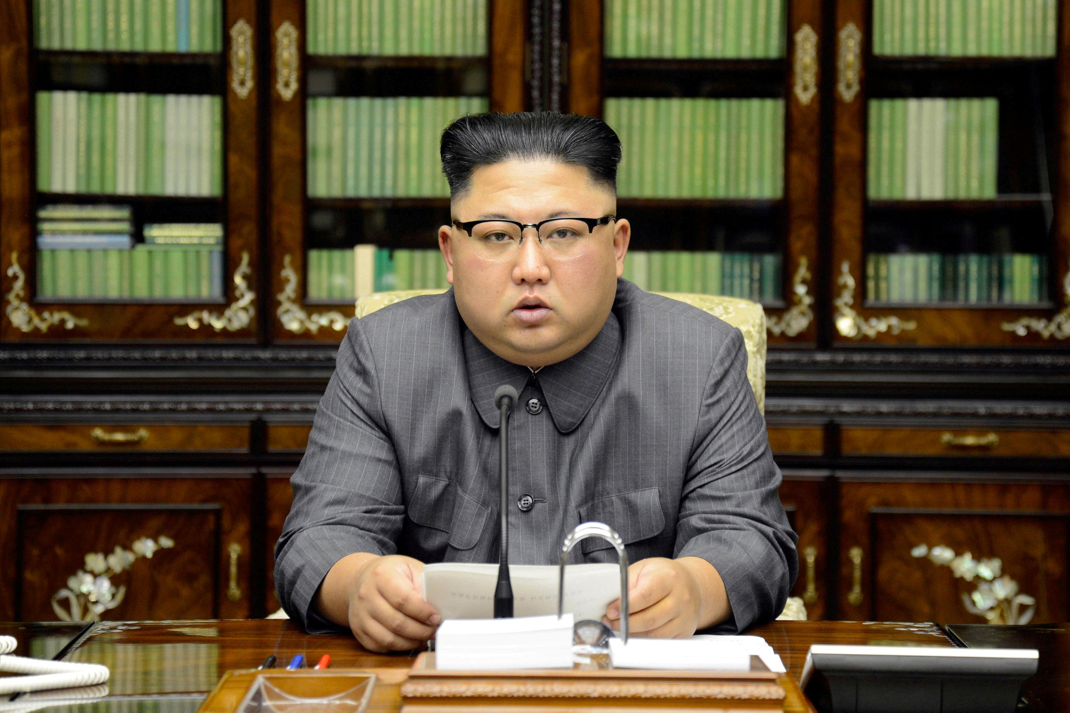 FILE PHOTO: North Korea's leader Kim Jong Un makes a statement regarding U.S. President Donald Trump's speech at the U.N. general assembly, in this undated photo released by North Korea's Korean Central News Agency (KCNA) in Pyongyang September 22, 2017. KCNA via REUTERS/File Photo