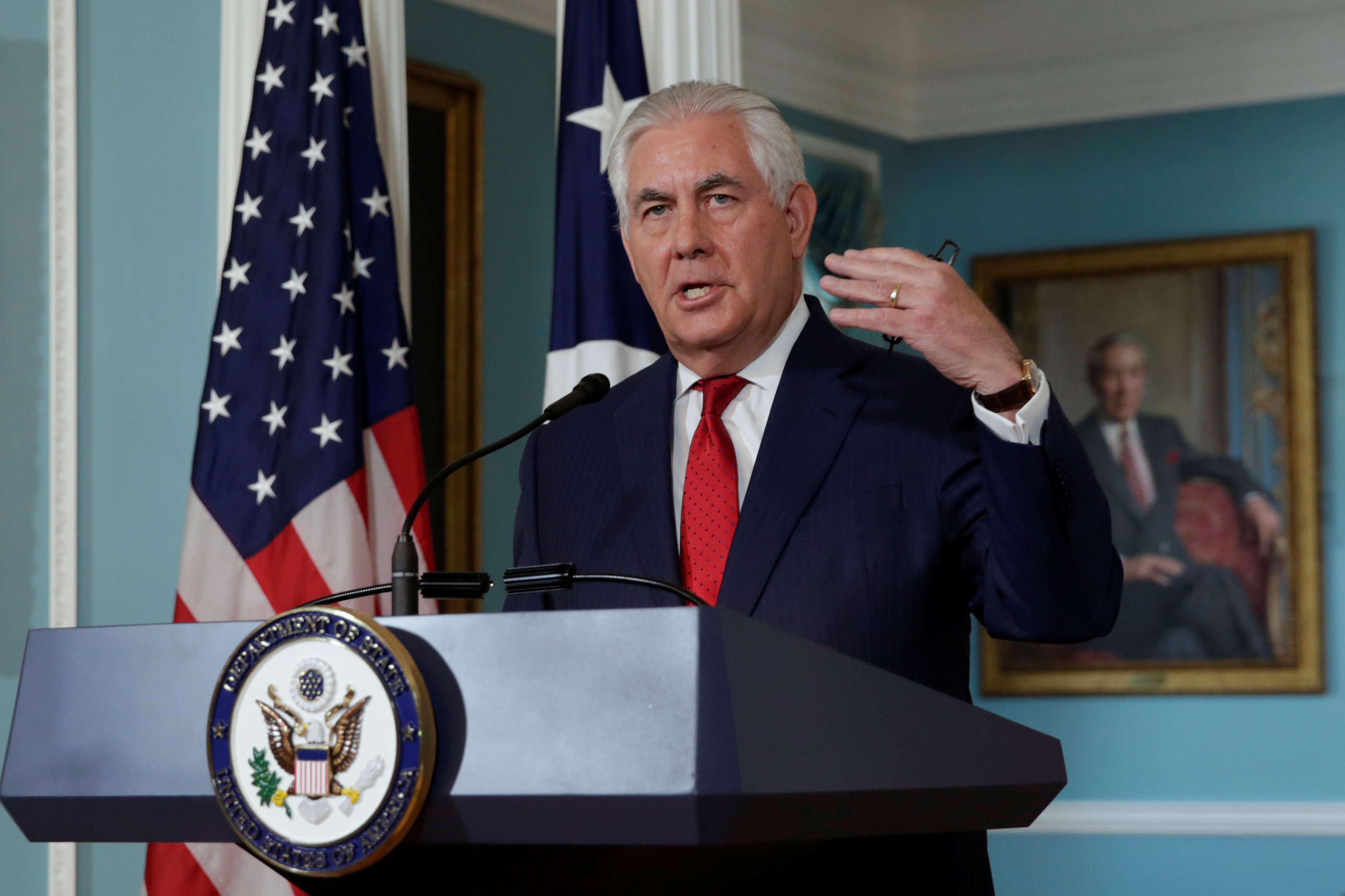 U.S. Secretary of State Rex Tillerson makes a statement to the media that he is not going to resign, at the State Department in Washington, U.S., October 4, 2017. REUTERS/Yuri Gripas
