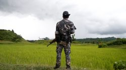 A Myanmar soldier stands near Maungdaw, north of Rakhine state, Myanmar September 27, 2017. REUTERS/Soe Zeya Tun