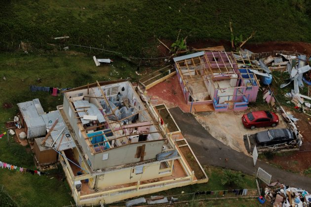 The contents of a damaged home can be seen near the town of Comerio.