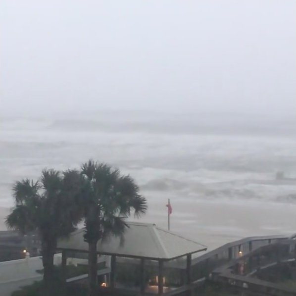 Heavy rain is seen at Orange Beach, Alabama, U.S. as Hurricane Nate approaches, on October 7, 2017 in this still image taken from a video obtained via social media. Jacob Kiper, Owensboro, KY/Social Media via REUTERS