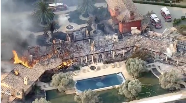 Napa Valley Home on Fire. Taken from Reuters video - screen shot