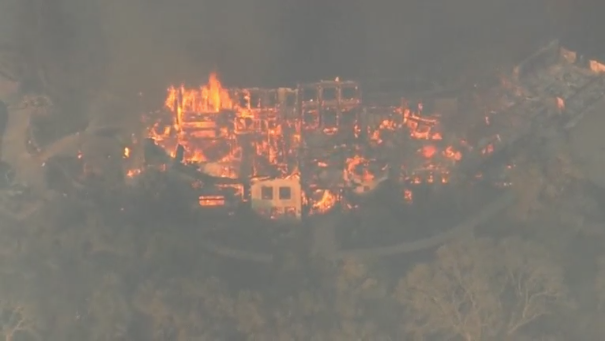 Aerial video footage from Reuters - screen shot of Napa Valley Fire