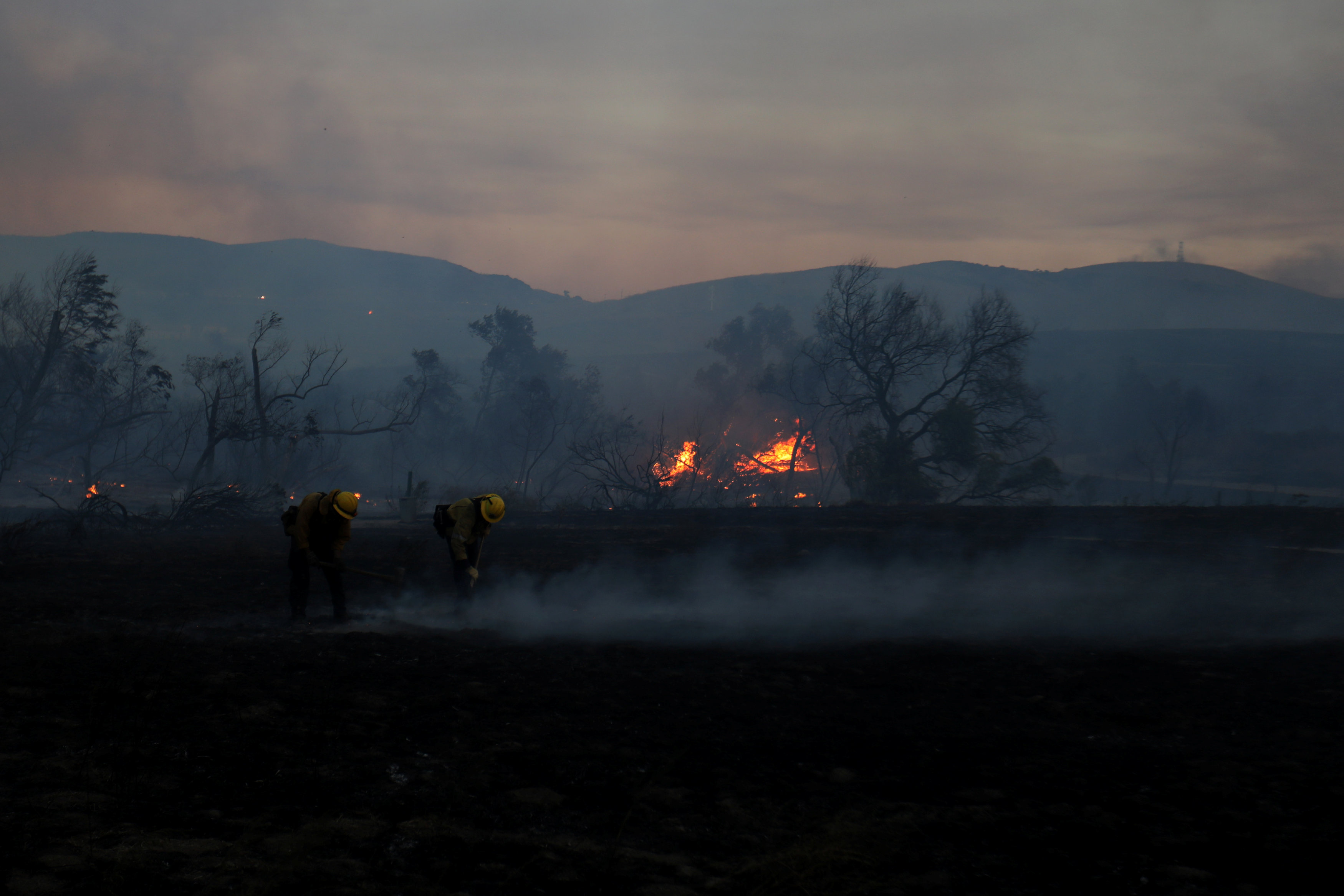 Firefighters work to put out hot spots on a fast moving wind driven wildfire in Orange, California, U.S., October 9, 2017.