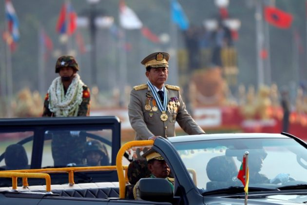 FILE PHOTO: Myanmar's General Min Aung Hlaing takes part during a parade to mark the 72nd Armed Forces Day in the capital Naypyitaw, Myanmar March 27, 2017. REUTERS/Soe Zeya Tun
