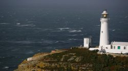 A lighthouse is seen as storm Ophelia approaches South Stack in Anglesey, Wales, Britain, October 16, 2017