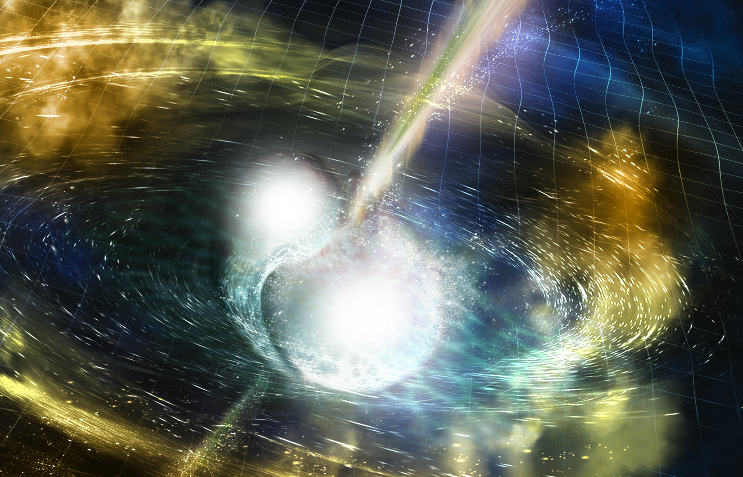 An artist's illustration of two merging neutron stars. The rippling space-time grid represents gravitational waves that travel out from the collision, while the narrow beams show the bursts of gamma rays that are shot out just seconds after the gravitational waves.