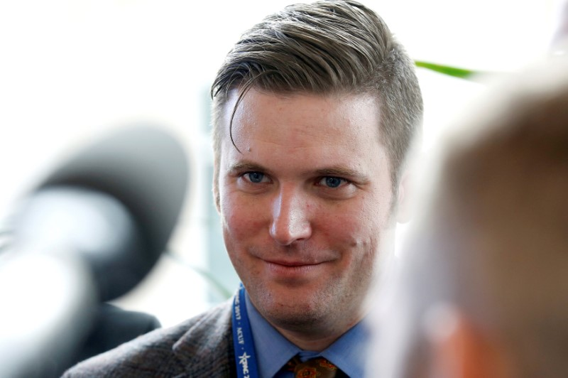 FILE PHOTO: Richard Spencer, a leader and spokesperson for the so-called alt-right movement, speaks to the media at the Conservative Political Action Conference (CPAC) in National Harbor, Maryland, U.S., February 23, 2017. REUTERS/Joshua Roberts/File Photo