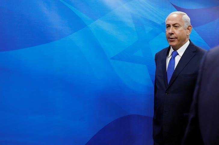 Israeli Prime Minister Benjamin Netanyahu arrives at the weekly cabinet meeting in Jerusalem October 15, 2017. REUTERS/Abir Sultan/Pool