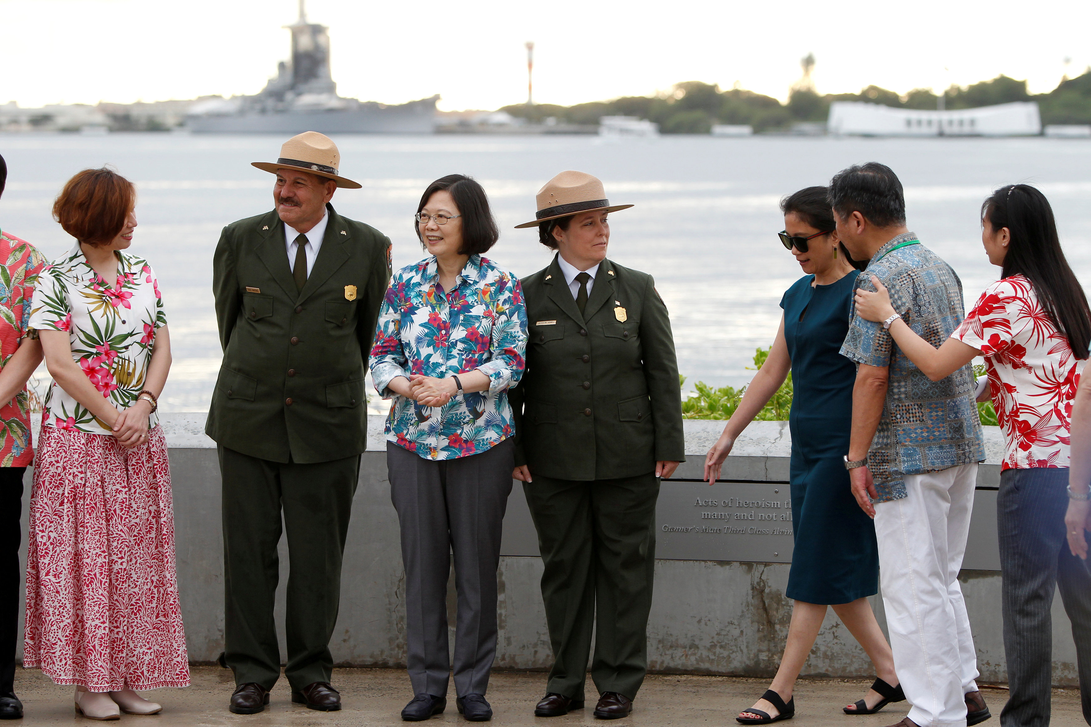 Taiwan's President Tsai Ing-wen, (3rd L), on transit enroute to Pacific island allies, stands with delegates and park service members at the USS Arizona Memorial at Pearl Harbor near Honolulu, Hawaii, U.S. October 28, 2017.
