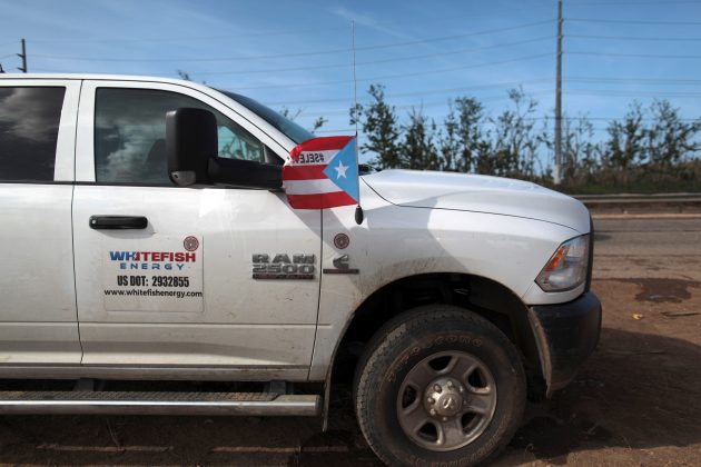 : A pickup truck from Montana-based Whitefish Energy Holdings is parked as workers (not pictured) help fix the island's power grid, damaged during Hurricane Maria in September, in Manati, Puerto Rico October 25, 2017.