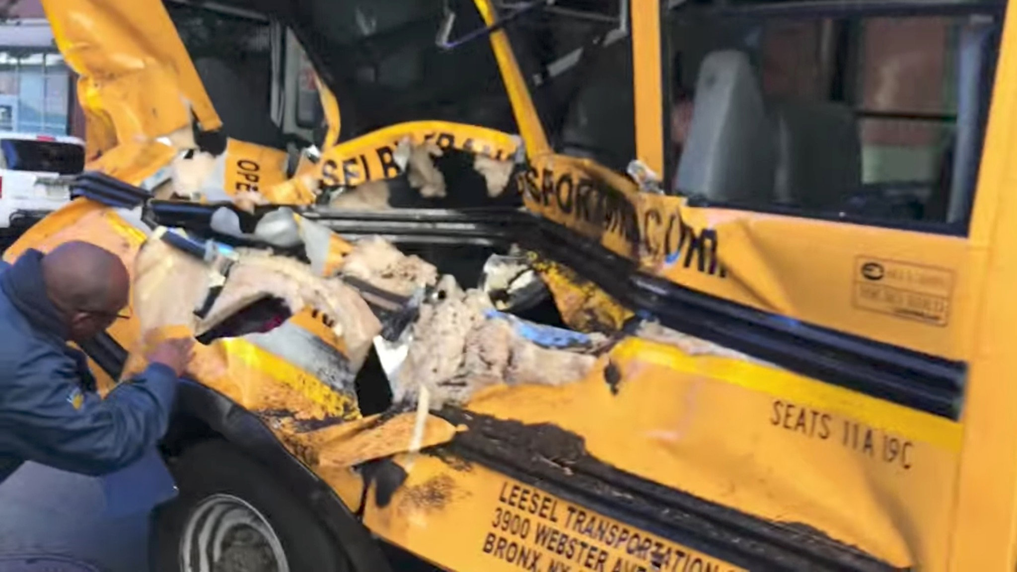 A damaged school bus is seen at the scene of a pickup truck attack in Manhattan, New York, U.S., October 31, 2017 in this picture obtained from social media.
