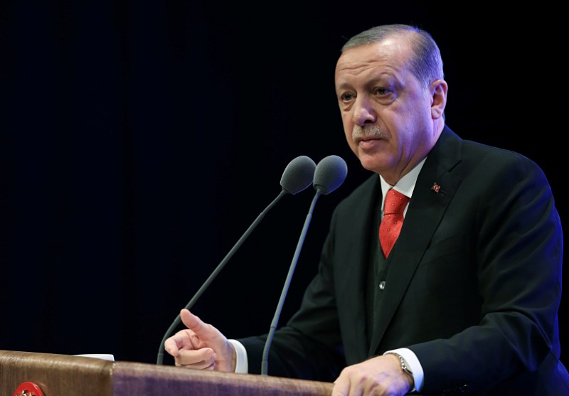 Turkish President Tayyip Erdogan speaks during a conference in Ankara, Turkey, November 1, 2017.