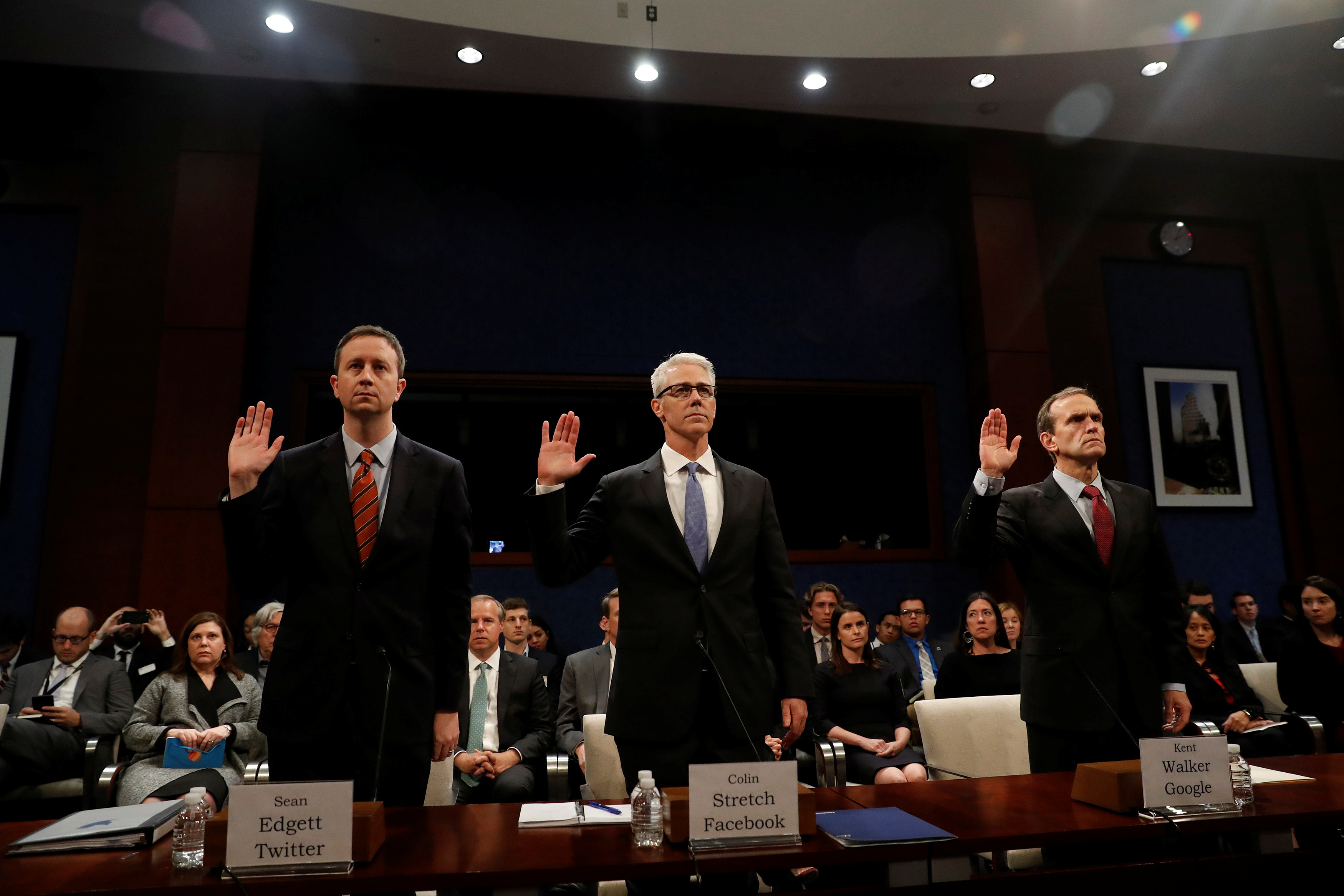 Twitter Acting General Counsel Sean Edgett, Facebook General Counsel Colin Stretch and Google Senior Vice President and General Counsel Kent Walker are sworn in before the House Intelligence Committee to answer questions related to Russian use of social media to influence U.S. elections, on Capitol Hill in Washington, U.S., November 1, 2017.