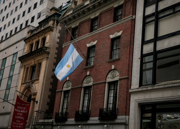 The flag hangs at half mast at the Argentine Consulate, in honour of the five Argentine citizens who were killed in the truck attack in New York on October 31, in New York City, U.S., November 2, 2017.