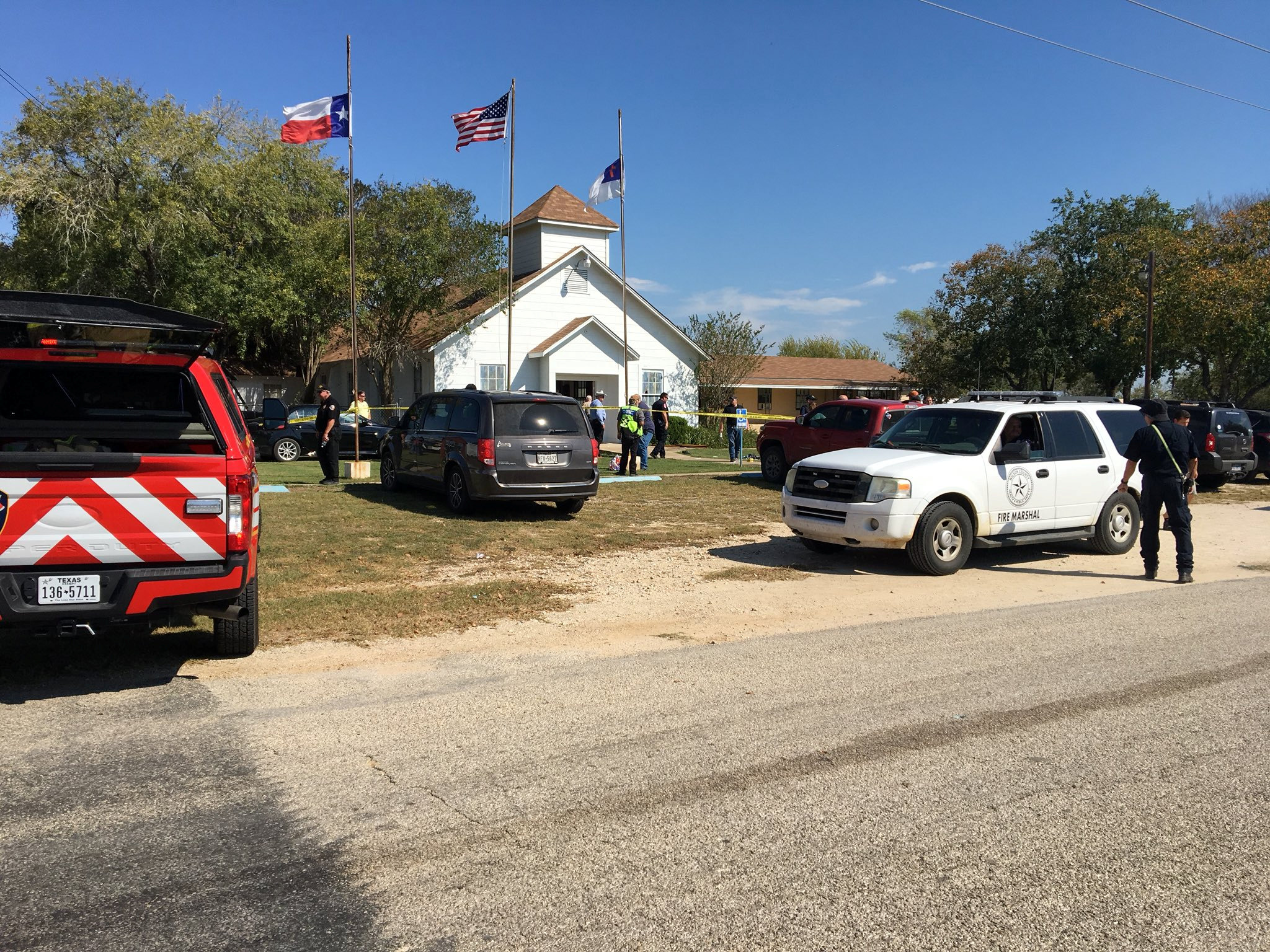 The area around a site of a mass shooting is taped out in Sutherland Springs, Texas, U.S., November 5, 2017, in this picture obtained via social media.